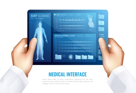Human hands touching on tablet screen showing medical interface with hud elements realistic design concept  vector illustration Banco de Imagens - 108303582