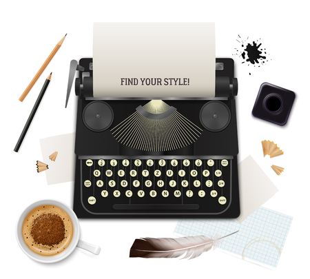 Set of realistic literature objects of writer top view on white background vector illustration Illustration