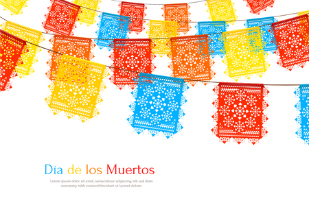 Day of dead as mexican ethnic holiday realistic background with garlands of paper cut party flags vector illustration