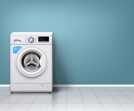 Realistic background with modern washing machine in empty laundry room vector illustration Illustration