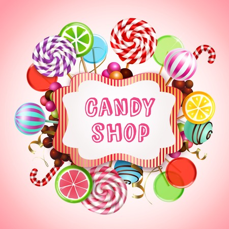 Candy shop composition with realistic images of sweet caramel products and lollies with text in frame vector illustration Illustration