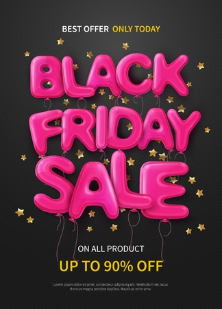 Dark poster with pink balloons forming text black friday sale flat vector illustration Illustration
