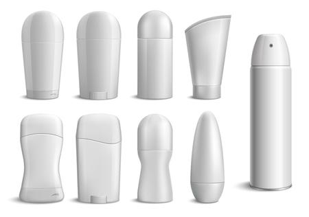 Ensemble monochrome de bouteilles de déodorant réalistes de différentes formes sur fond blanc isolé illustration vectorielle Vecteurs