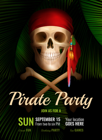 Pirate party realistic poster with smiling skull in red bandana and date of fun event vector illustration Illustration