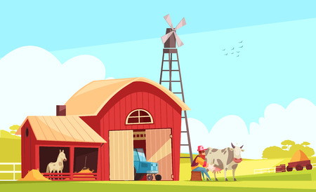 Milk farm composition with suburban landscape and farm buildings with human character of farmer milking cow vector illustration Illustration