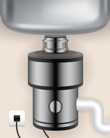 Realistic food waste disposer installed to kitchen sink and connected to electric socket vector illustration