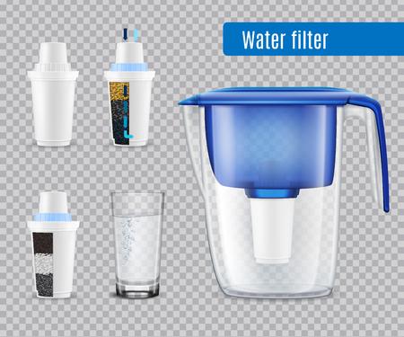 Dzbanek z filtrem wody do użytku domowego z 3 wymiennymi wkładami węglowymi i realistycznym zestawem przezroczystych ilustracji wektorowych z pełnego szkła