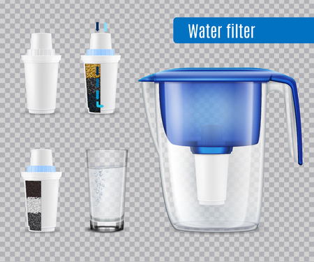 Household water filter pitcher with 3  replacement carbon cartridges and full glass realistic set transparent vector illustration Illustration