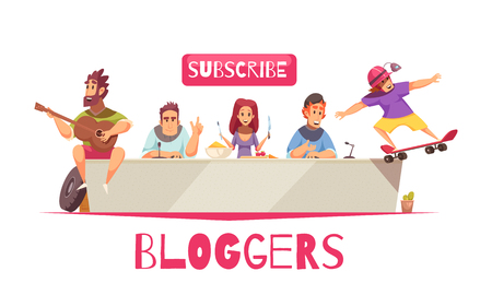 Bloggers composition with doodle style human characters of online broadcasters with subscribe button and ornate text vector illustration