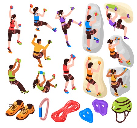Isometric climbing wall collection of isolated icons and images of mountain climbers and pieces of equipment vector illustration