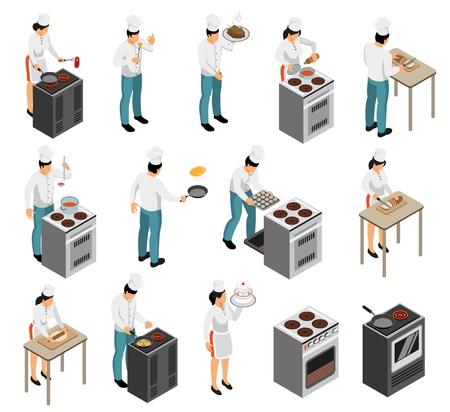 Equipo de cocina profesional cocinero cocinero preparación de alimentos servicio de camarero elementos isométricos iconos conjunto aislado ilustración vectorial
