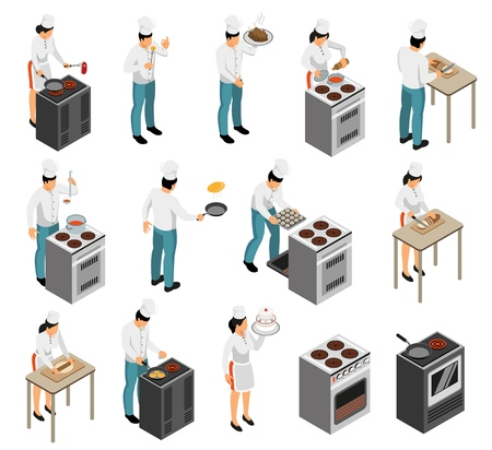 Le icone isometriche degli elementi di servizio del cameriere del cuoco unico della preparazione del cibo della cucina professionale della gamma dell'attrezzatura hanno messo l'illustrazione di vettore isolata