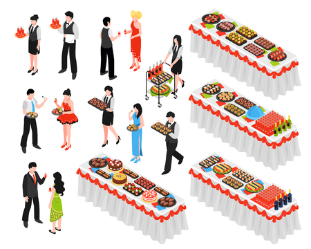 Isometric banquet reception dinner party set of isolated human characters and long tables with various dishes vector illustration Foto de archivo - 109877118