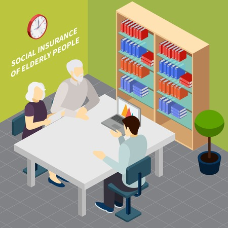 Couple of pensioners during communication with employee of social security service isometric vector illustration Illustration