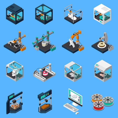 Collection d'icônes isométriques de l'industrie de l'impression 3D avec des icônes isolées d'installations de couture industrielles et de machines à coudre illustration vectorielle