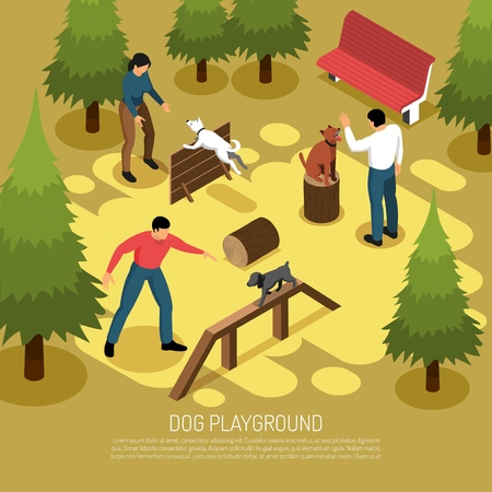 Cynologist training domestic dogs service on outdoor playground mastering climbing balance jumping skills isometric composition vector illustration