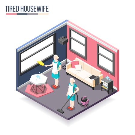 Tortured housewife isometric composition with two women in domestic interior busy cleaning apartment vector illustration