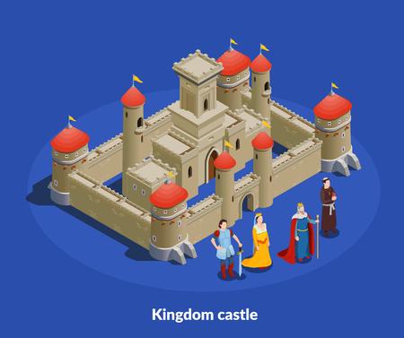 Château fortifié du royaume médiéval avec des murs en pierre tours composition isométrique avec illustration vectorielle de roi reine évêque chevalier Vecteurs