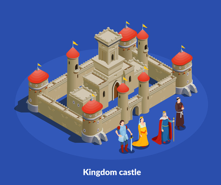 Medieval kingdom fortified castle with stone walls towers isometric composition with king queen bishop knight vector illustration Иллюстрация