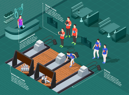 Bowling competition isometric composition with teams of players game equipment infographic elements on green background vector illustration 向量圖像
