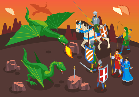 Medieval isometric composition with human characters of warriors and knights with green dragons and fantasy landscape vector illustration