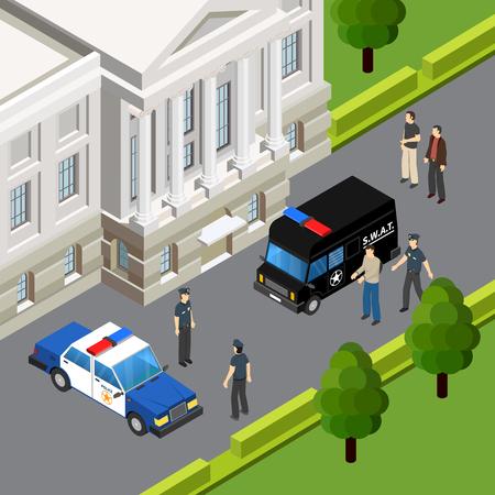 Composición isométrica del sistema de justicia de la ley con arresto de sospechosos de crimen por parte de oficiales de policía escena ilustración de vector de verano al aire libre