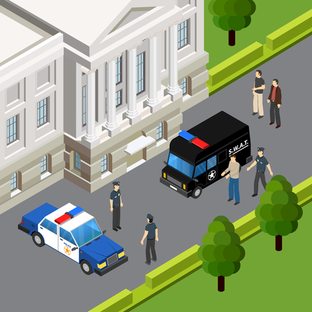 Law justice system isometric composition with crime suspect arrest by police officers scene summer outdoor vector illustration Illustration