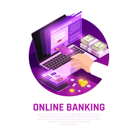 Online banking app with user interface elements for laptop and smart phone isometric round composition vector illustration Çizim