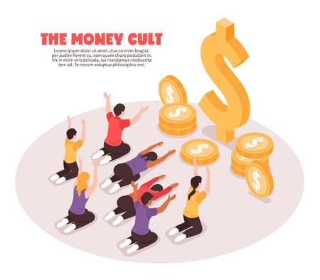 Isometric religious money cult background composition with people prostrating themselves before coin images and dollar signs vector illustration