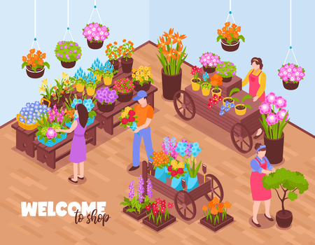 Isometric florist background with view of indoor venue and flover vendors selling bough-pots with text vector illustration Illustration