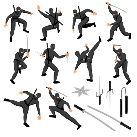 Isometric ninja set of isolated icons with human characters of warrior in vatious poses with weapons vector illustration