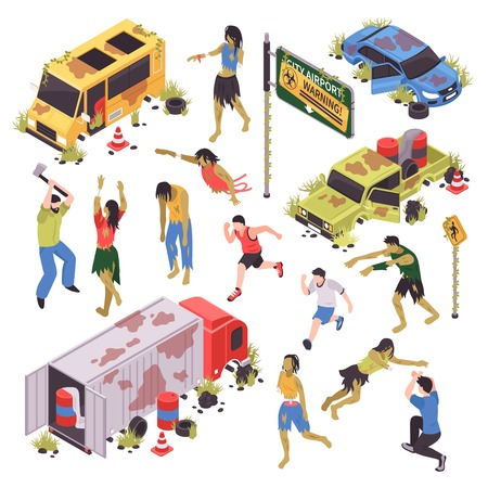Isometric zombie apocalypse attack set with isolated human characters zombies with broken road signs and cars vector illustration