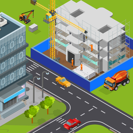 Construction isometric composition with outdoor view of modern city streets cars and house block under construction vector illustration
