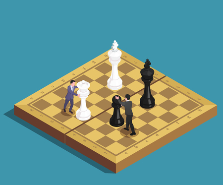 Chess game concept isometric composition of players ending moves with kings queen pawn pieces on chessboard vector illustration Çizim