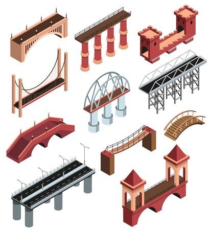 Colección de elementos isométricos de detalles de puentes con construcciones metálicas modernas viaductos de piedra de madera antiguos que se extienden ilustración vectorial aislada Ilustración de vector