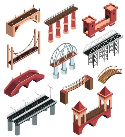 Ponts détails collection d'éléments isométriques avec des constructions métalliques modernes viaducs en pierre en bois anciens enjambe illustration vectorielle isolé Vecteurs