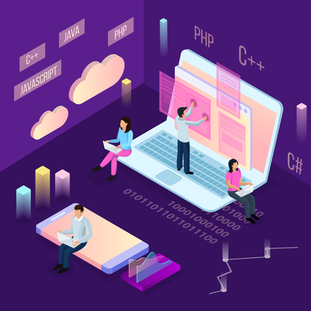 Freelance programming isometric composition with people and conceptual cloud computing icons with financial images and human characters vector illustration