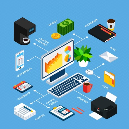 Business people isometric flowchart with linked images of workplace items office equipment with editable text captions vector illustration  イラスト・ベクター素材