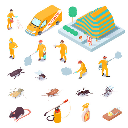 Isometric set of icons with pest control service specialists their equipment insects and rodents 3d isolated vector illustration