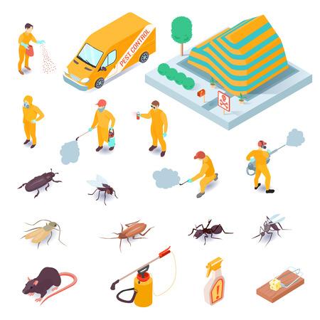 Isometrischer Satz von Ikonen mit Schädlingsbekämpfungsdienstspezialisten ihre Ausrüstungsinsekten und Nagetiere 3d isolierte Vektorillustration