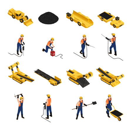 Set di icone isometriche minatori di produzione di carbone con strumenti di lavoro e veicoli minerari illustrazione vettoriale isolato Vettoriali
