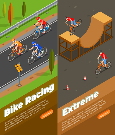 Cyclists during bike racing and extreme ride set of isometric vertical banners isolated vector illustration Иллюстрация