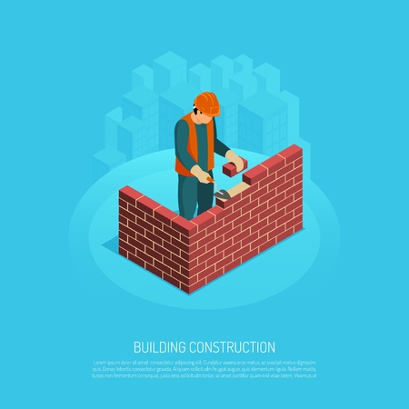 Isometric builder architect with editable text human character of worker and image of brickwall under construction vector illustration Illustration