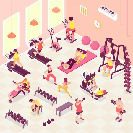 Male and female people doing fitness cardio and weight trainings in gym 3d isometric vector illustration Illustration