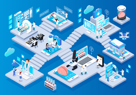 Telemedicine glow isometric infographic elements composition with smart portable devices remote monitoring consulting tests prescriptions vector illustration
