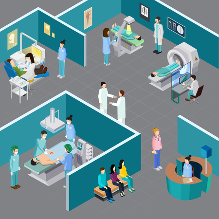 Medical equipment isometric composition with human characters of health professionals and patients in various hospital rooms vector illustration