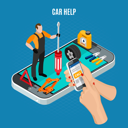 Car help isometric concept with equipment and tools symbols vector illustration Reklamní fotografie - 108467051