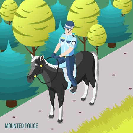 Mounted police isometric background with policeman patrolling city park on horseback vector illustration