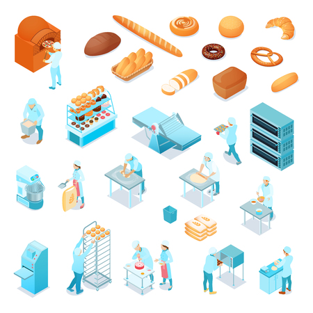 Isometric bakery icons set with bakers and confectioners making bread cakes pizza pastry isolated on white background 3d vector illustration 写真素材 - 109877144