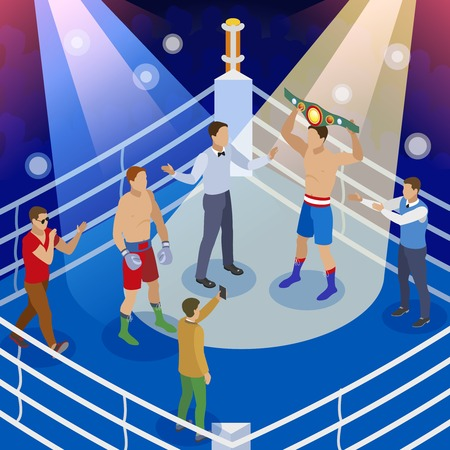 Box isometric composition with view of boxing ring with human characters of boxers referee and hosts vector illustration